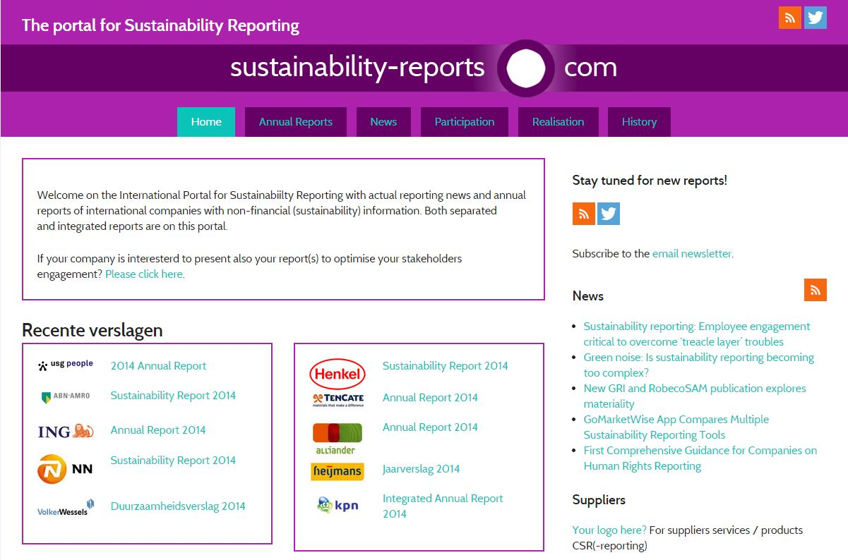 A brand new webportal for Sustainability Reporting with a history of 18 years!